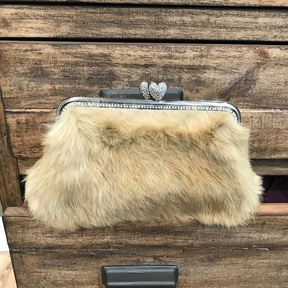 Besso Tan Rabbit Fur Clutch f91e516063140
